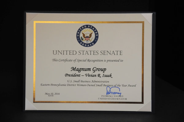 SBA Eastern PA Woman-Owned Small Business of the Year Award United States Senate Plaque